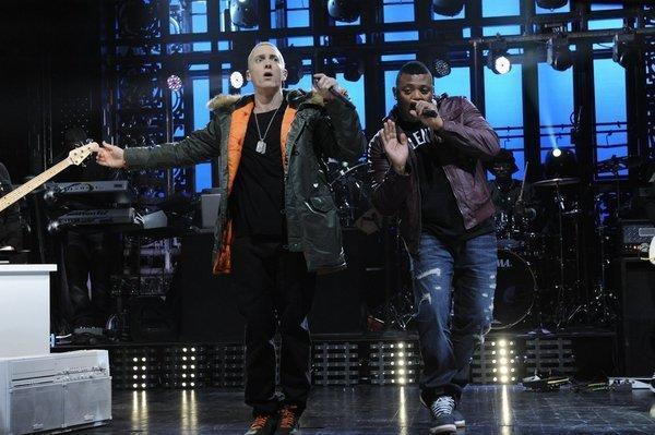 "Eminem (left) performing last weekend on NBC's ""Saturday Night Live."""