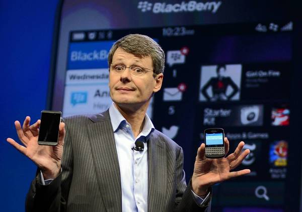 Thorssten Heins has been replaced as chief executive of struggling smartphone maker BlackBerry. Heins held the job since January 2012. John S. Chen, former head of business software company Sybase Inc., will serve as interim CEO will the company searches for a permanent successor.