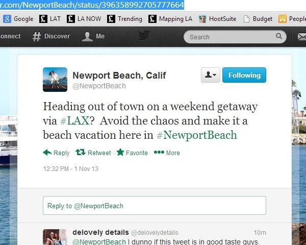 The Visit Newport Beach Inc. account sent out this tweet Friday.