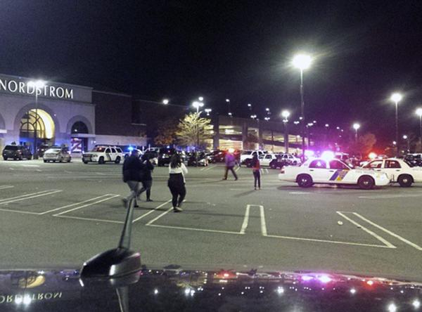 An image released by an Instagram user who asked not to be identified shows the scene outside the New Jersey mall.