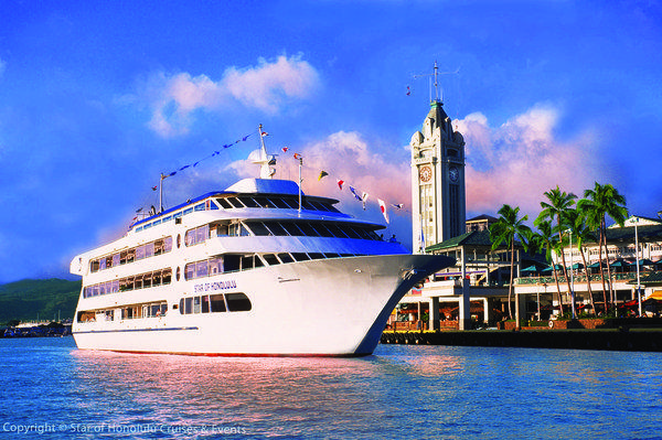 The Star of Honolulu, which will go into dry dock for 13 days in December, is seen beside the Aloha Tower Marketplace, from which its sunset cruises depart.