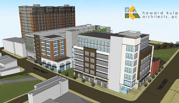 Artist's rendering shows the office building project proposed at the corner of Third and New streets in Bethlehem.