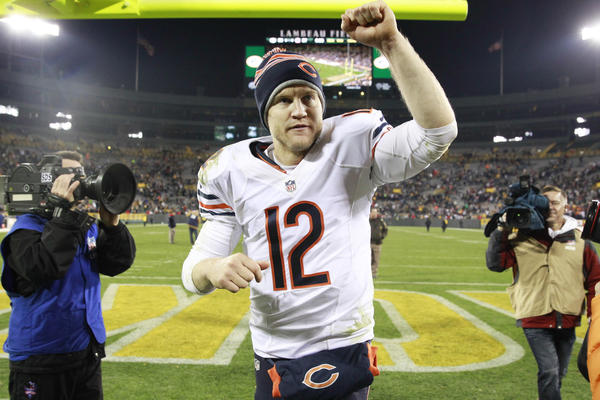 Josh McCown celebrates his team's win over the Packers.