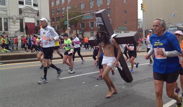 Marathon Jesus runs in the New York City Marathon.