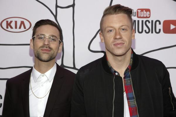 Ryan Lewis (L) and Macklemore attend the YouTube Music Awards in New York.
