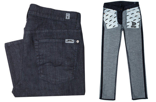 The exterior (left) and interior (right) of the limited-edition 7 For All Mankind X Movember jean (shown here in the Slimmy Slim Straight Leg fit). The brand will donate $20 from the sale of each $189 pair to the organization that promotes awareness of men's health issues.