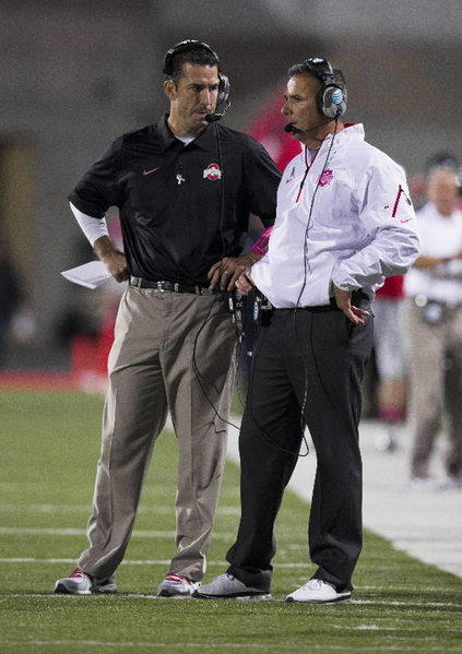 Ohio State defensive coordinator Luke Fickell, left, is FAU's top candidate for its vacant head coaching position.