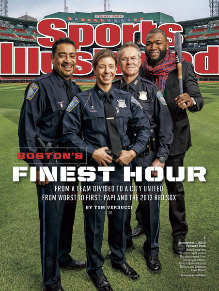 Red Sox star and World Series MVP David Ortiz shares the cover with Boston cops Javier Pagan and Rachel McGuire and detective Kevin McGill.