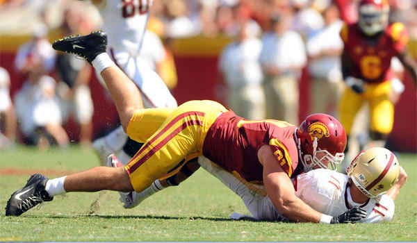 USC's Morgan Breslin, taking down Boston College quarterback Chase Rettig in September, is out indefinitely with an injury.