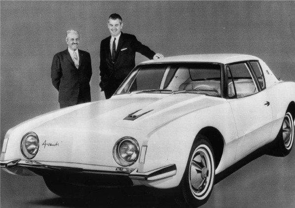 Raymond Loewy, left, and Studebaker president Sherwood Egberd with an Avanti automobile in 1962.