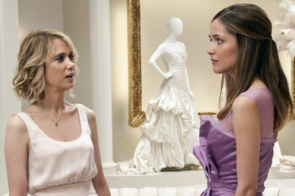 "Kristen Wiig, left, and Rose Byrne in the movie ""Bridesmaids,"" which included no horses."