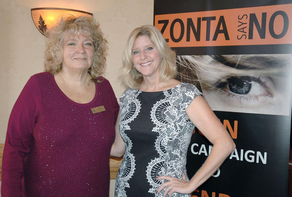 Grace Farenbaugh, left, president of Zonta Club of Burbank, with honoree Rebecca Mieliwocki, the Woman of the Year for 2013.