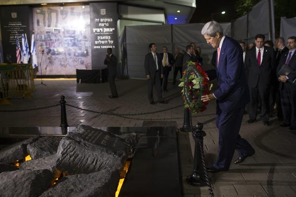 U.S. Secretary of State John F. Kerry lays a wreath at a memorial to former Israeli Prime Minister Yitzhak Rabin in Tel Aviv.