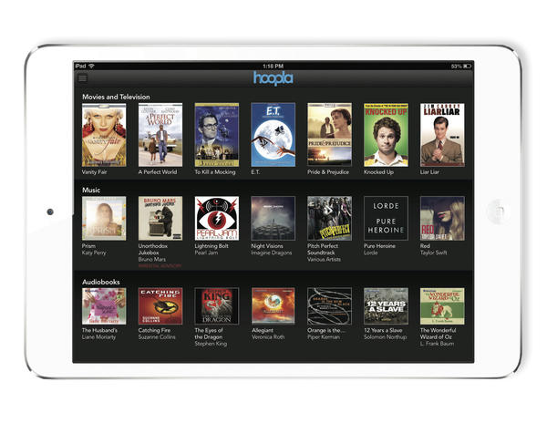 The iPad app from Hoopla, a Netflix-like streaming service for public library cardholders.