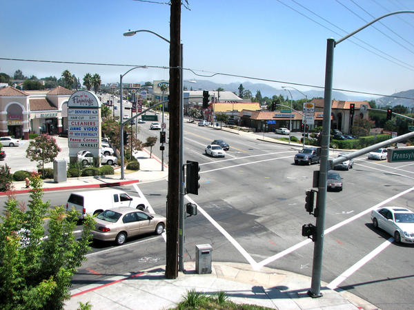 A look down Foothill Blvd. from the patio at Vons shopping center at Pennsylvania Ave.