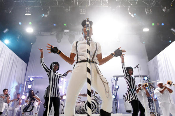 Janelle Monae, here at Club Nokia in Los Angeles on Nov. 2, has had to postpone a few shows, including one Tuesday night at the House of Blues in Anaheim.