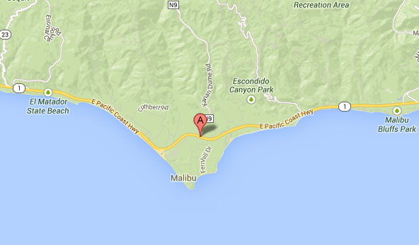 Map shows general location where northbound lanes near PCH were shut down after a fatal accident.