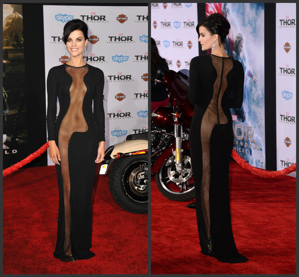 "Jaimie Alexander's gown from Azzaro Couture captured attention at Marvel's ""Thor: The Dark World"" premiere."
