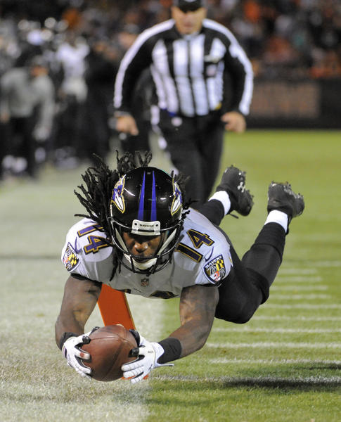 Ravens rookie wide receiver Marlon Brown scores a touchdown against the Cleveland Browns.