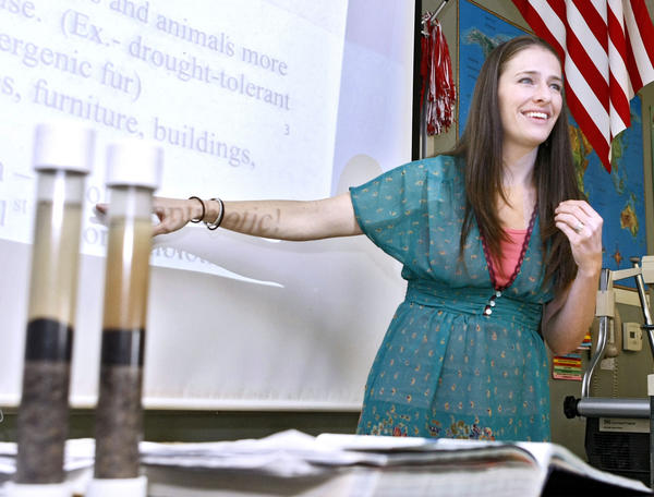 Burroughs High School science teacher and a Los Angeles County teacher of the Year Jill Tobin in her 9th grade honors biology class at the Burbank school on Thursday, Oct. 3, 2013. Tobin was in the running as a 2014 California Teacher of the Year but did not advance in the state competition, regardless she is 'proud' of her work.