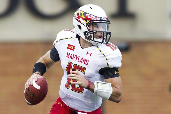 Terps quarterback C.J. Brown rolls out the pocket against Wake Forest in October.