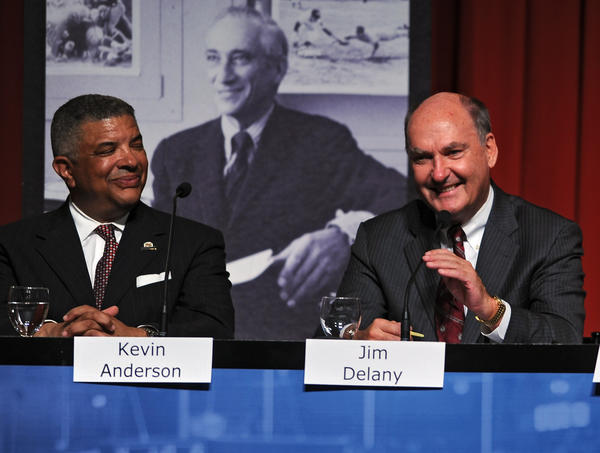 Maryland athletic director Kevin Anderson and Big Ten commissioner Jim Delany Commissioner share a laugh during a university symposium on the school's impending move to the Big Ten.