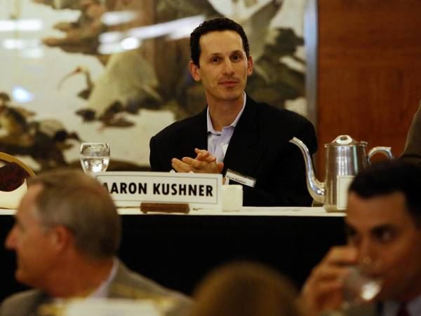 Orange County Register owner Aaron Kushner said Oct. 10 he would buy the Riverside Press-Enterprise, the Inland Empire's largest newspaper, for $27.25 million, adding it to his fast-growing stable of Southern California dailies. Above, Kushner at a Rotary Club meeting in Long Beach in August.