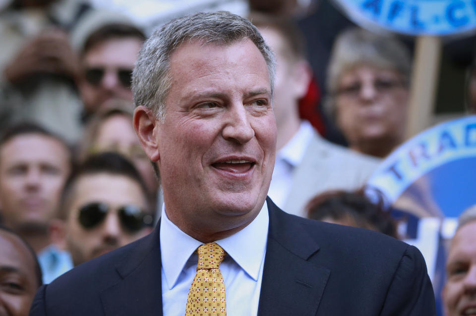 Bill de Blasio speaks after receiving the endorsement of former mayoral candidate and City Council Speaker Christine Quinn.