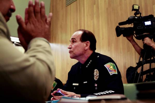 Police Chief Randy Adams attends a Bell City Council meeting in 2010. Adams is expected to testify as a witness for the defense in the trial of former Assistant City Administrator Angela Spaccia.