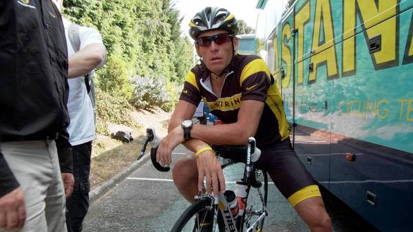 "Lance Armstrong in a scene from ""The Armstrong Lie."""