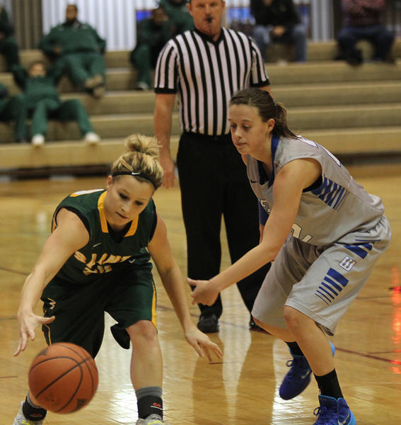 Presentation junior point guard Sierra Benning attempts to control the ball as Dakota Wesleyan's Celeste Beck guards her during a nonconference women's basketball game Tuesday at the Corn Palace in Mitchell.