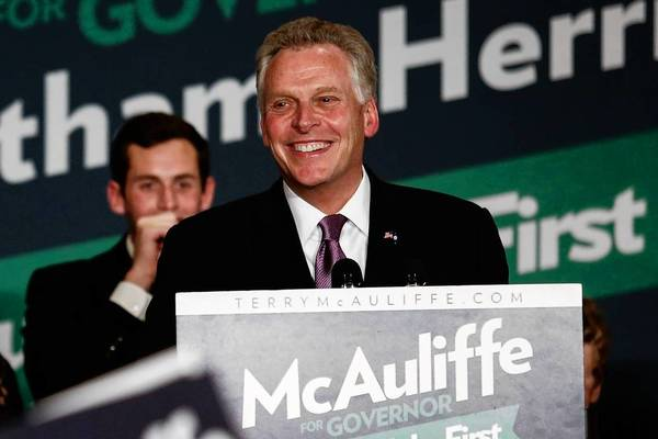 Terry McAuliffe, Virginia's governor-elect, speaks to supporters in Tysons Corner, Va., on election night. He beat tea party Republican Ken Cuccinelli in a close contest.