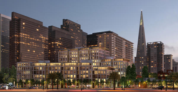 A rendering of the 8 Washington project. At 136 feet, the rear towers would have exceeded the city's height limit of 84 feet. Voters also rejected a separate ballot initiative that sought approval the project as is and would have allowed construction to proceed.