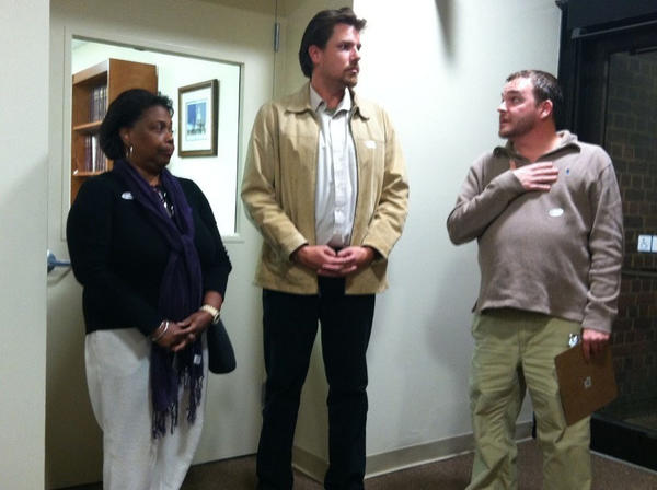 Pamela Johnson, Michael Parmele and Peter Wirig (left to right) of the Annapolis Board of Supervisors of Elections speak to supporters of mayoral candidate Mike Pantelides and reporters in City Hall on Tuesday night.