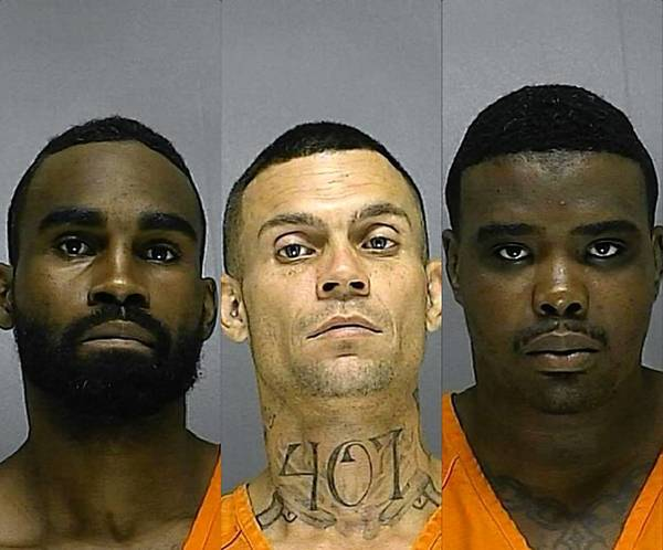 Stacy Leon Taylor, left, was sentenced Monday to 50 years in prison as a habitual felony offender for his role in a home invasion and bank robbery in Volusia County that ended with a chase and car crash in Seminole County in October 2012. Two conspirators have already been sentenced. Christopher James Donaldson (middle) was convicted and sentenced in June to three life terms. Winsor Lyles pleaded no contest and was sentenced in September to 30 years in prison.