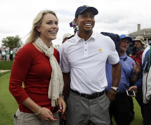 Tiger Woods and Lindsey Vonn after he helped the U.S. win the Presidents Cup at Muirfield Village Golf Club on Oct. 6.