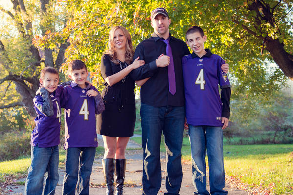 Ravens punter Sam Koch with his wife, Nikki, and their sons, from left, Kamdyn, Braxtyn and Ryan.