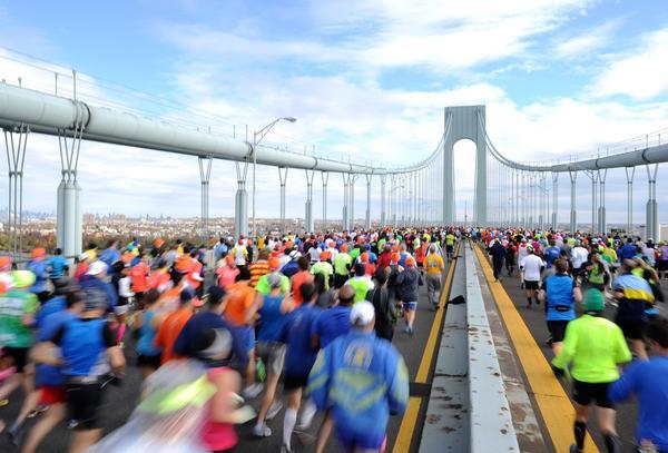 Runners cross the Verrazano-Narrows Bridge at the start of the New York City Marathon on Sunday.