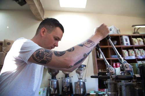 Cro Cafe in Oakland is where an espresso shot is precision-crafted using a propane-powered San Marco lever machine.