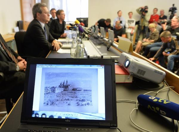 An artwork of Antonio Canaletto is shown on a computer screen during a news conference in Augsburg in southern Germany on Tuesday.