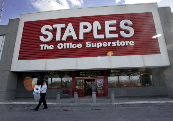 A Staples store in Boston's Brighton neighborhood.