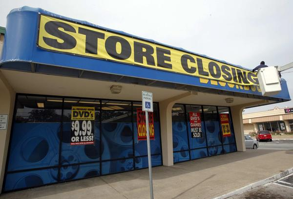 A shuttered Blockbuster Video store in Los Angeles.