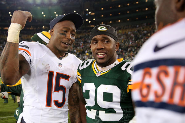 Bears wide receiver Brandon Marshall talks with Green Bay Packers cornerback Casey Hayward after Monday's game.