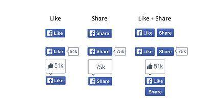 "A look at Facebook's redesigned ""Like"" and ""Share"" buttons, which now feature a darker shade of blue."