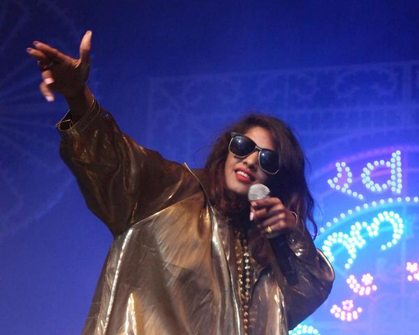 """M.I.A. performs in celebration of her new album """"Matangi"""" at Terminal 5 on Friday in New York City."""