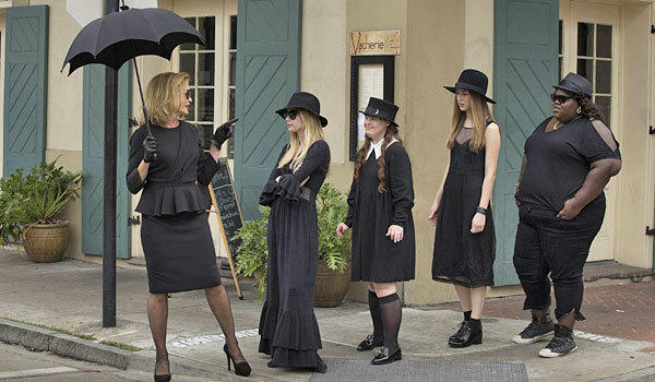 "Jessica Lange, left, Emma Roberts, Jamie Brewer, Taissa Farmiga and Gabourey Sidibe in ""American Horror Story: Coven."""