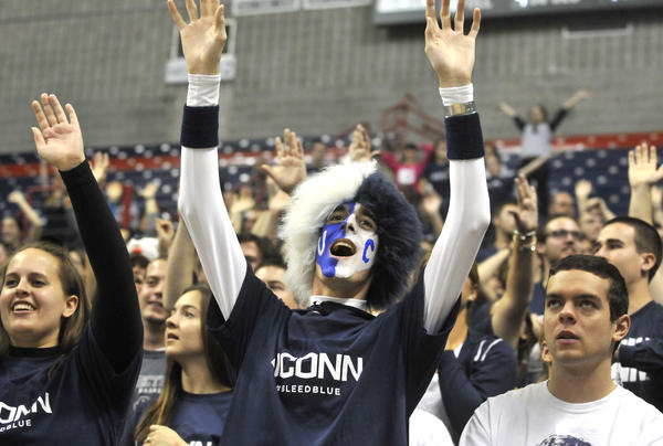 Storrs, CT - 11/11/12 - UConn senior John Dearborn, of Ansonia, yells during the women's basketball home opener against College of Charleston at Gampel Pavilion Sunday. BRAD HORRIGAN | bhorrigan@courant.com