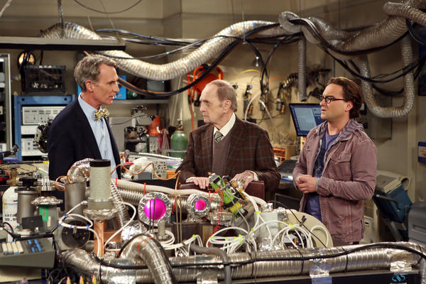 "Science Guys compete on ""The Big Bang Theory"" With Bill Nye, left, Bob Newhart and Johnny Galecki."