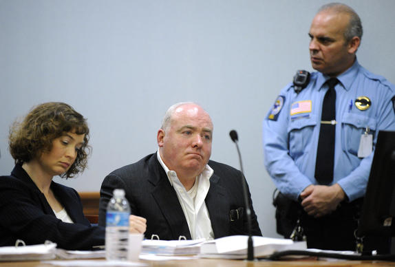 Michael Skakel listens to Judge Trial Referee Thomas Bishop's ruling during a hearing in Rockville Superior court Wednesday, Nov. 6, 2013, in Vernon, Conn., to determine if he can be released while awaiting a new trial in the 1975 slaying of neighbor Martha Moxley.
