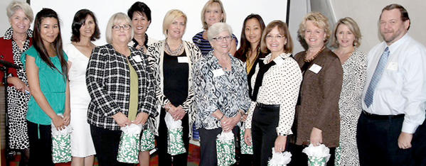 The new Pasadena Showcase House for the Arts provisional members for 2013-2014. Pictured from left to right: Stephani Tyler, Provisional Chair, Provisionals Michelle Nomura, Mari Claveran, Ann Vackrinos, Melinda Edwards, Diane Hatfield, Kay Hoveland, May Hsu, Rebecca Mikkelsen, Charlotte McDonald, Sheri Wedeen and Tom Munsell. Not shown: Coleen Ball.